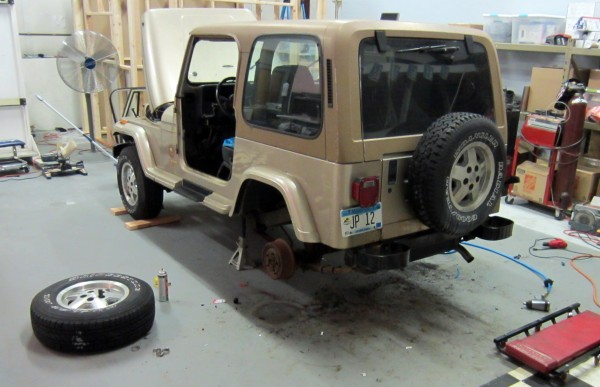 Jeep being repaired.